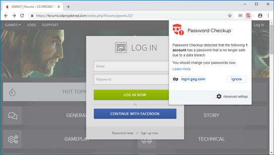 谷歌发布Password Checkup浏览器扩展警示用户数据泄露